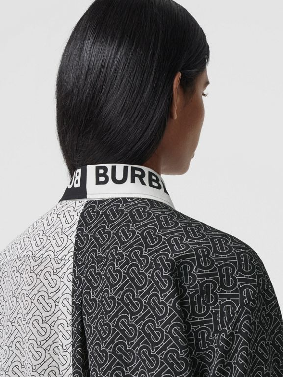 Unicorn Print Silk Crepe De Chine Shirt in Black - Women | Burberry - cell image 1