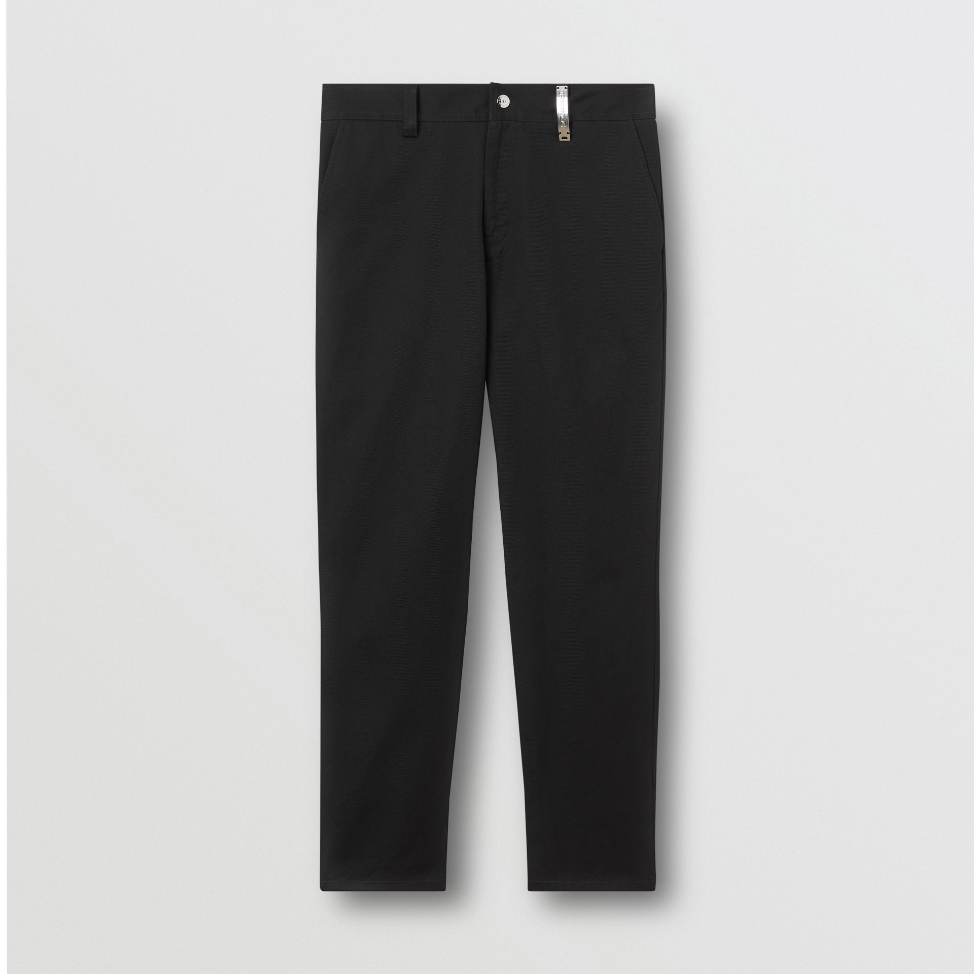 Straight Fit Logo Detail Cotton Chinos in Black - Men | Burberry Canada - gallery image 3