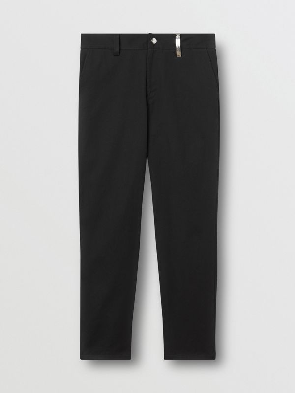 Straight Fit Logo Detail Cotton Chinos in Black - Men | Burberry Canada - cell image 3