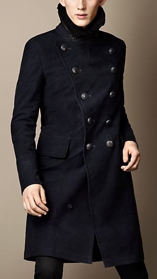 Naval Moleskin Greatcoat with Shearling Collar