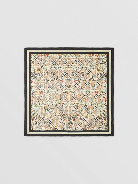 Montage Print Silk Square Scarf in Beige