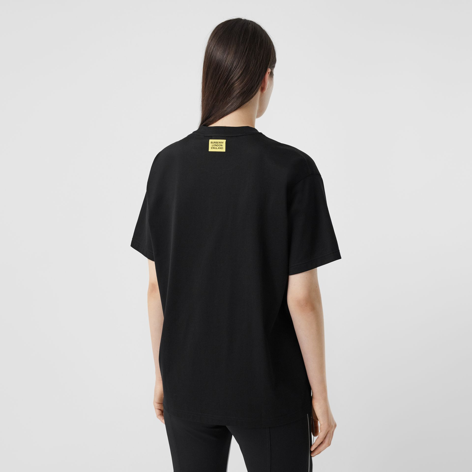 Slogan Print Oversized T-shirt – Online Exclusive in Black - Women | Burberry - gallery image 2