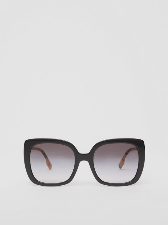 Oversized Square Frame Sunglasses in Black