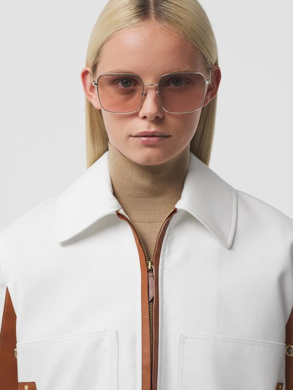 Oversized Square Frame Sunglasses in Nude Pink - Women | Burberry - cell image 2