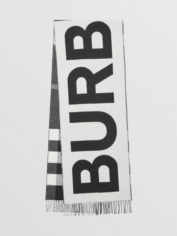 Cachecol dupla face de cashmere com estampa xadrez e logotipo (Preto/branco)