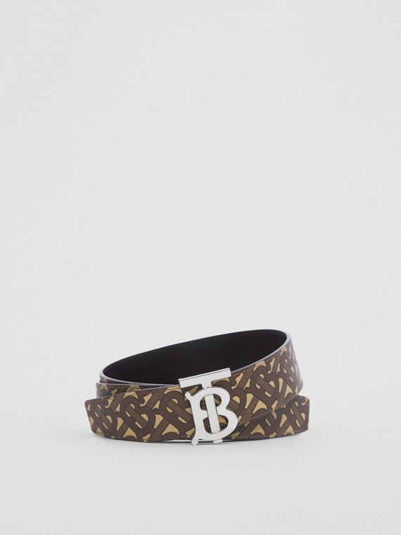 Reversible Monogram Print E-canvas and Leather Belt in Bridle Brown