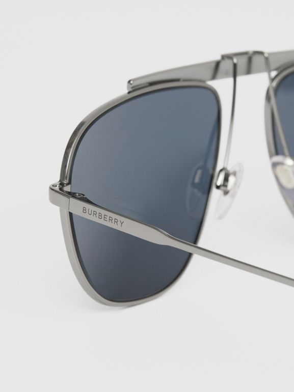 Icon Stripe Detail Pilot Sunglasses in Gunmetal Grey - Men | Burberry - cell image 1