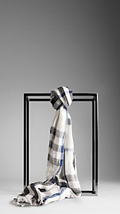 Check Linen Silk Crinkled Scarf