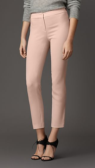 Skinny Fit Satin-Back Crepe Trousers