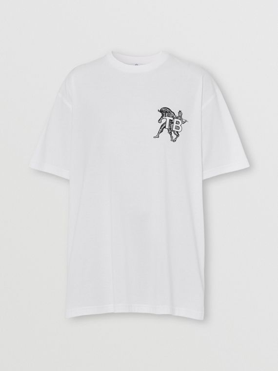 Mythical Alphabet Monogram Motif Cotton T-shirt – Unisex in White