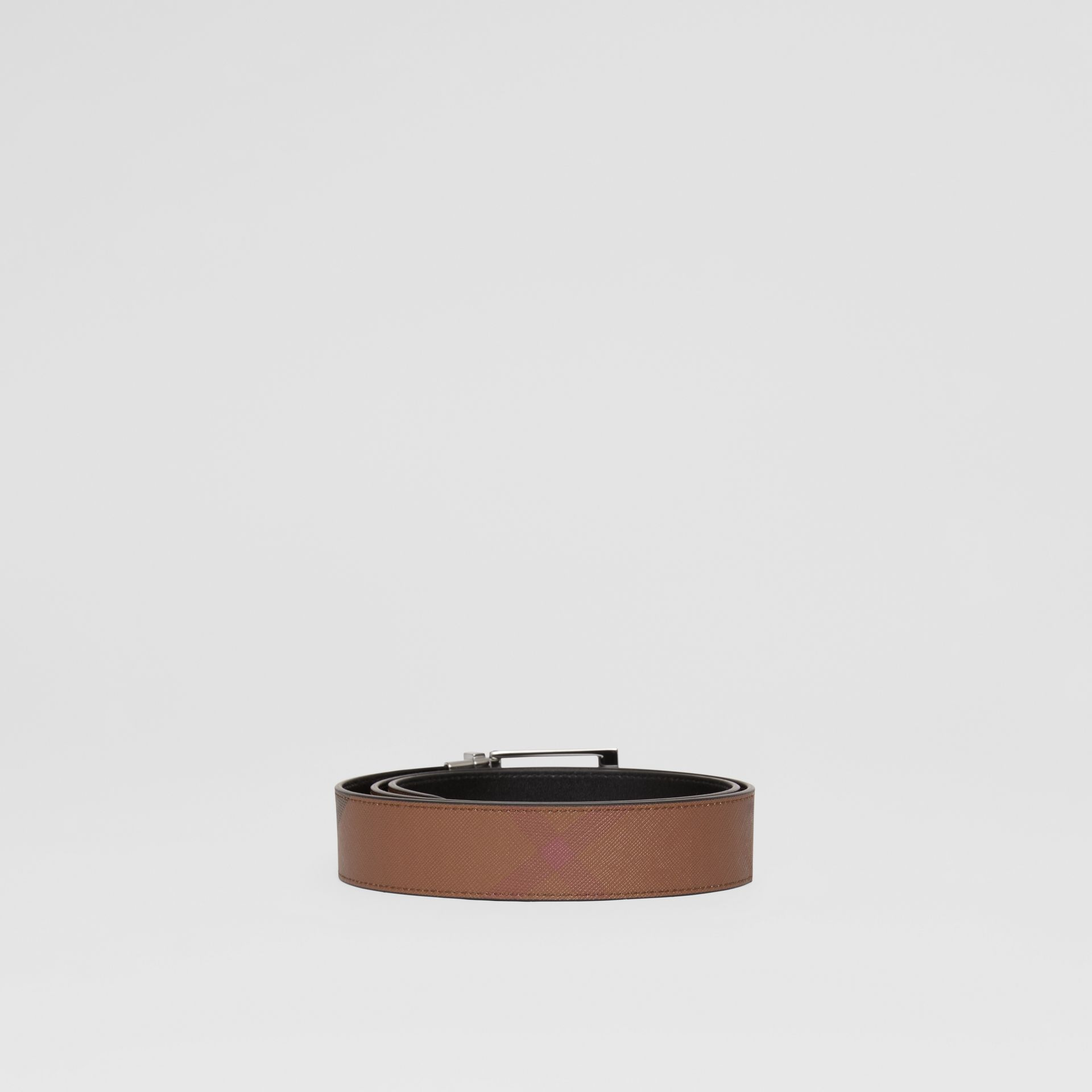 Cintura reversibile in e-canvas con motivo tartan e pelle (Marrone Betulla Scuro/nero) - Uomo | Burberry - immagine della galleria 5