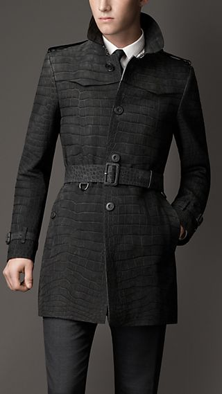 Mid-Length Alligator Leather Trench Coat