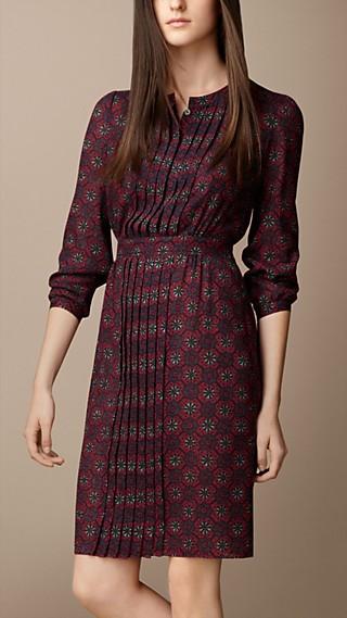 Pleat Detail Floral Print Dress