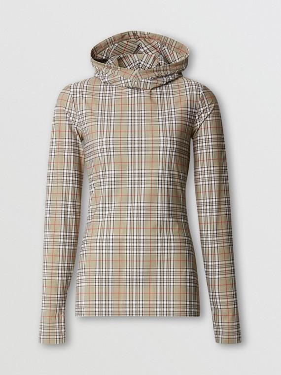 Maglia con cappuccio in jersey stretch con motivo tartan (Fulvo Tenue)
