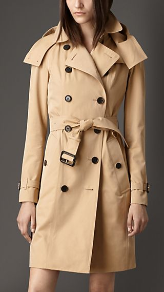 Long Gabardine Hooded Trench Coat with Warmer