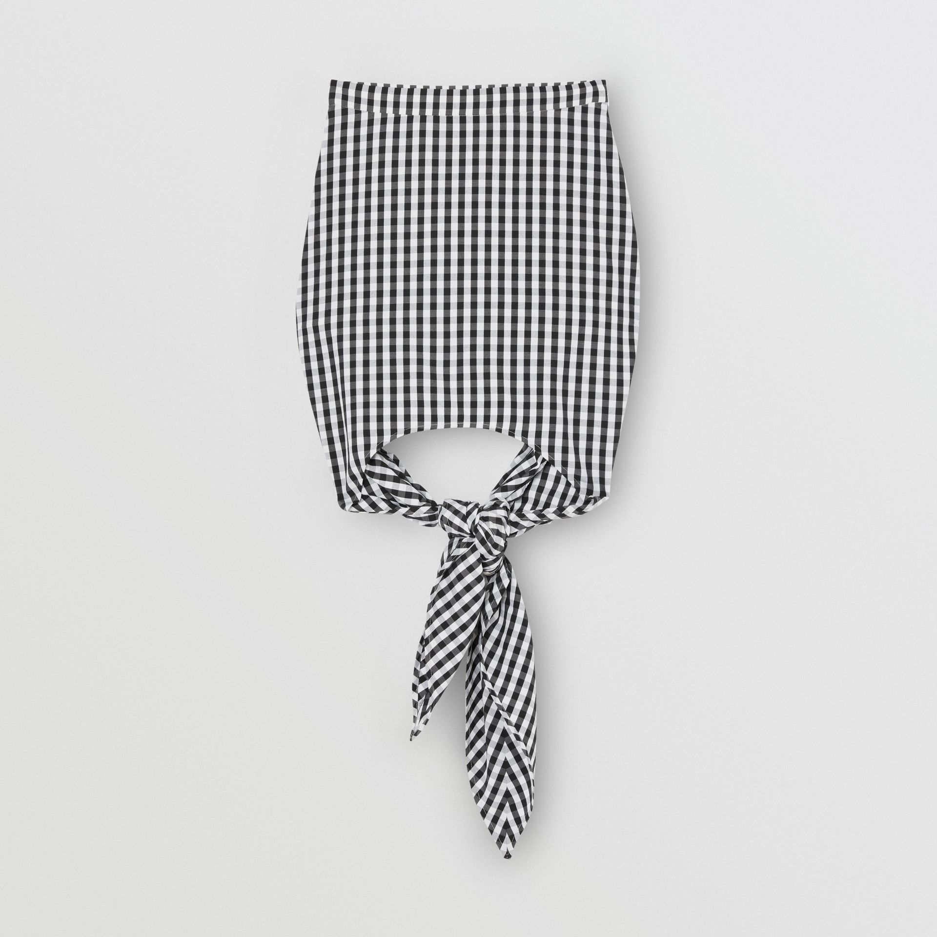 Minirock aus technischer Wolle mit Bindedetail und Vichy-Muster (Schwarz) - Damen | Burberry - Galerie-Bild 3