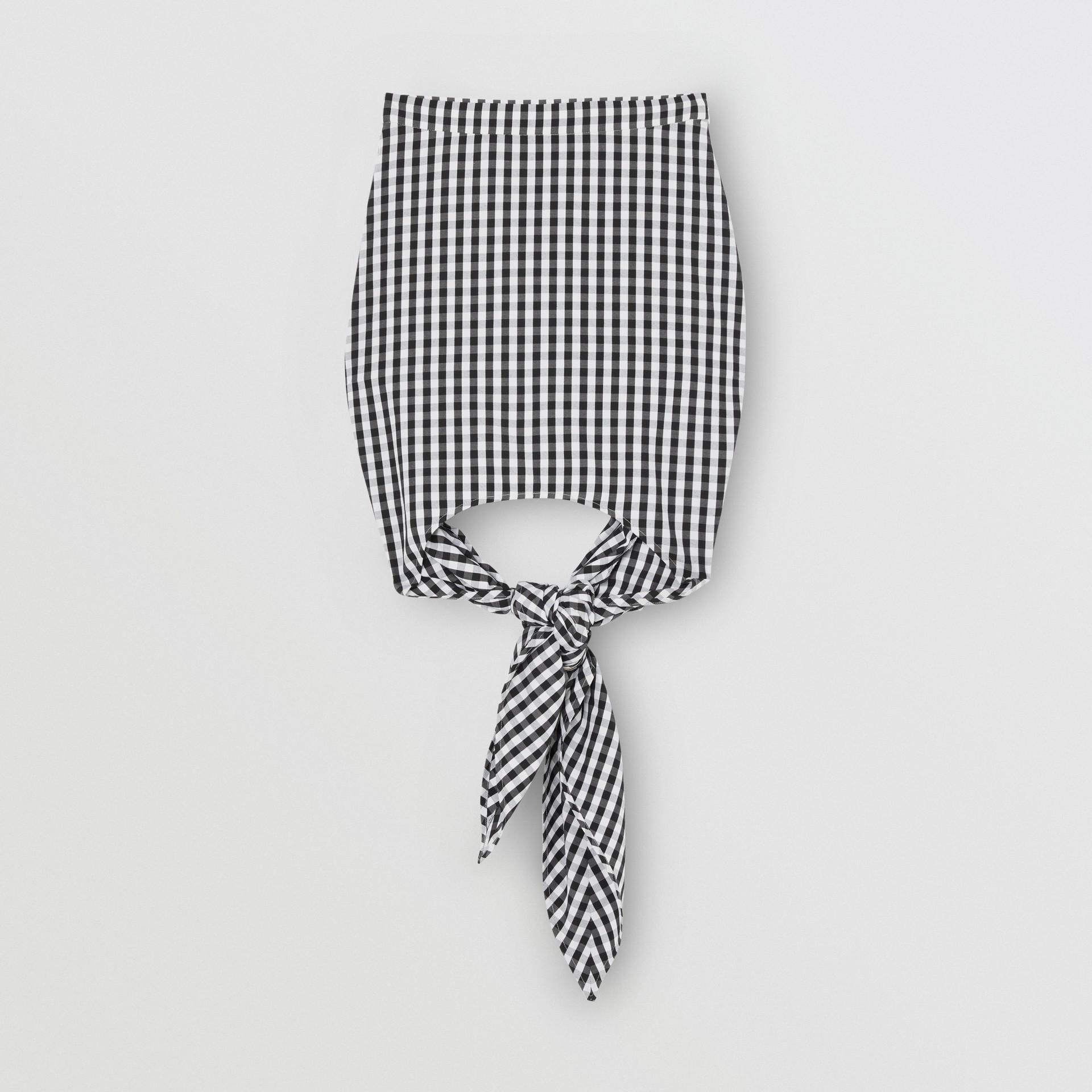 Scarf-tie Detail Gingham Technical Wool Mini Skirt in Black - Women | Burberry - gallery image 3