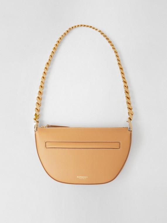 Mini Leather Zip Olympia Bag in Warm Sand