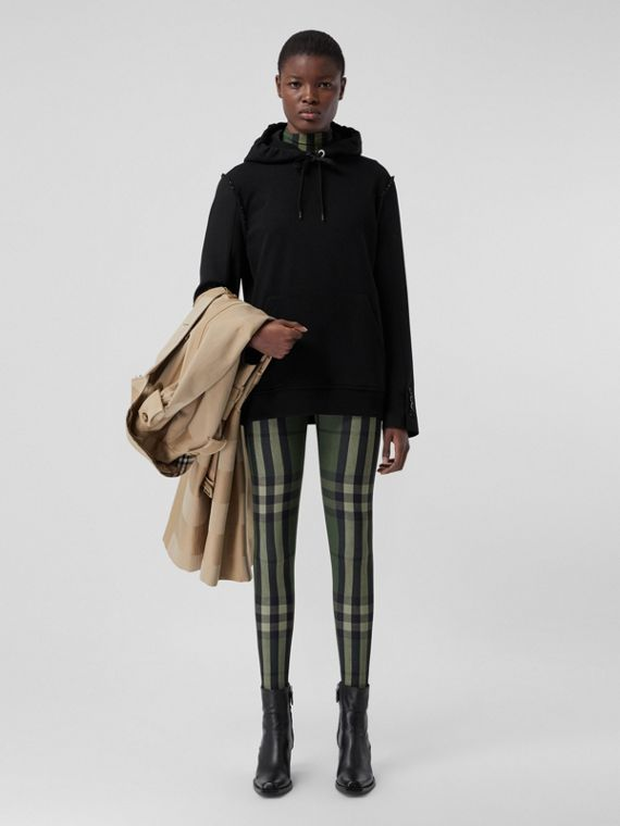 Leggings in jersey stretch con motivo tartan (Verde Militare)
