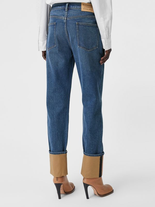 Straight Fit Striped Cuff Washed Jeans in Mid Indigo Blue - Women | Burberry - cell image 2