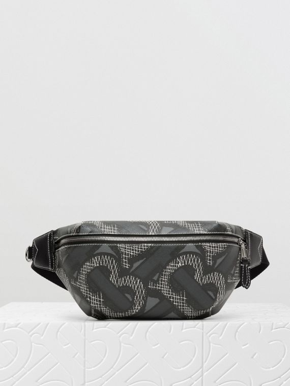 Monogram Print E-canvas Sonny Bum Bag in Graphite