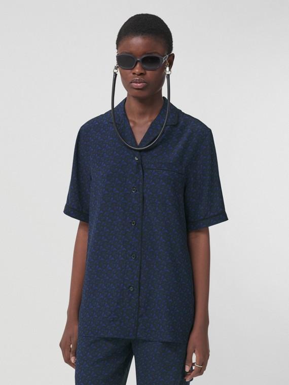 Monogram Print Silk Pyjama Shirt – Online Exclusive in Deep Royal Blue
