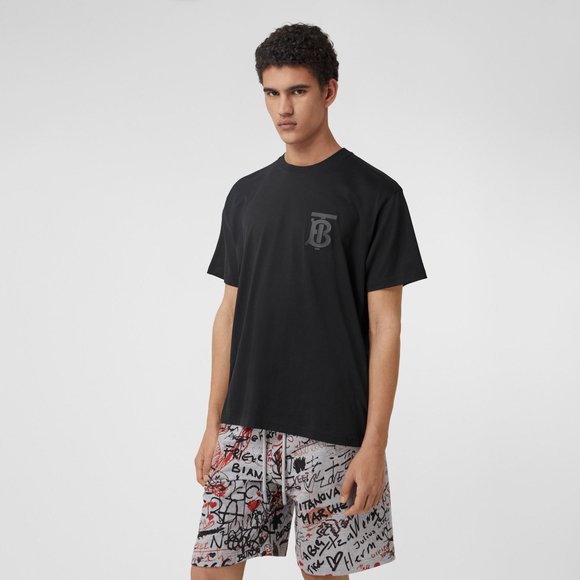 Monogram Motif Cotton Oversized T-shirt in Black - Men | Burberry United Kingdom - gallery image 0