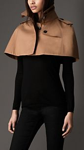 Leather Detail Resinated Cotton Capelet
