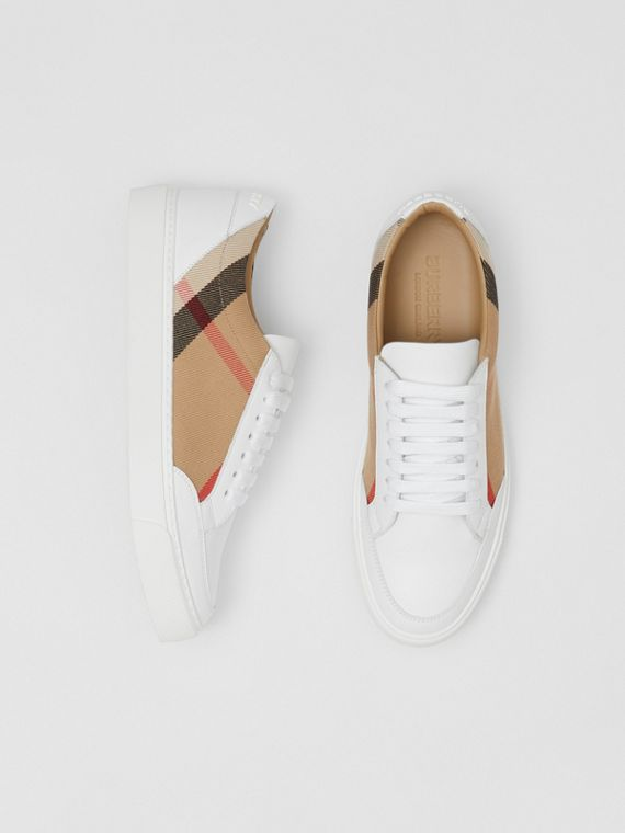 House Check and Leather Sneakers in Optic White