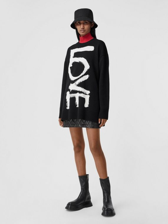 Love Motif Wool Oversized Sweater in Black