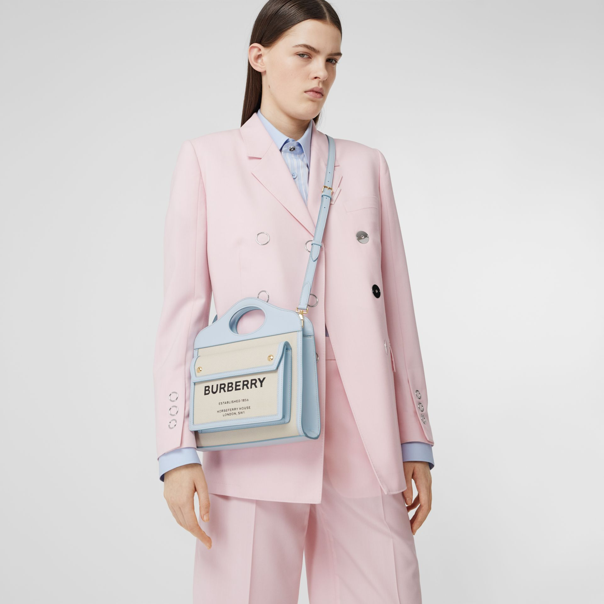 Mini Two-tone Canvas and Leather Pocket Bag in Natural/pale Blue | Burberry United States - gallery image 2