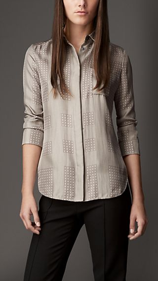 Polka Dot Check Silk Shirt