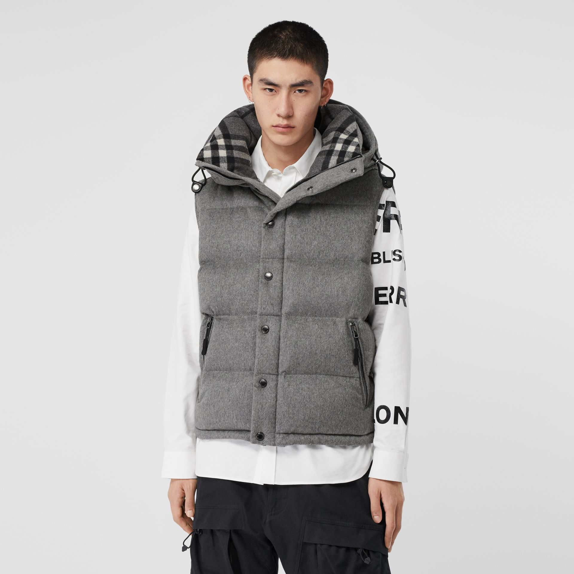 Detachable Sleeve Cashmere Hooded Puffer Jacket in Mid Grey Melange - Men | Burberry - gallery image 6