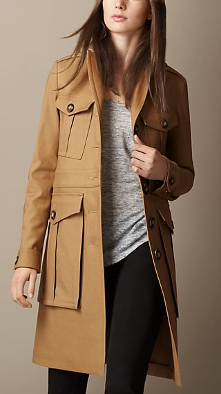 Cotton Blend Officer Coat