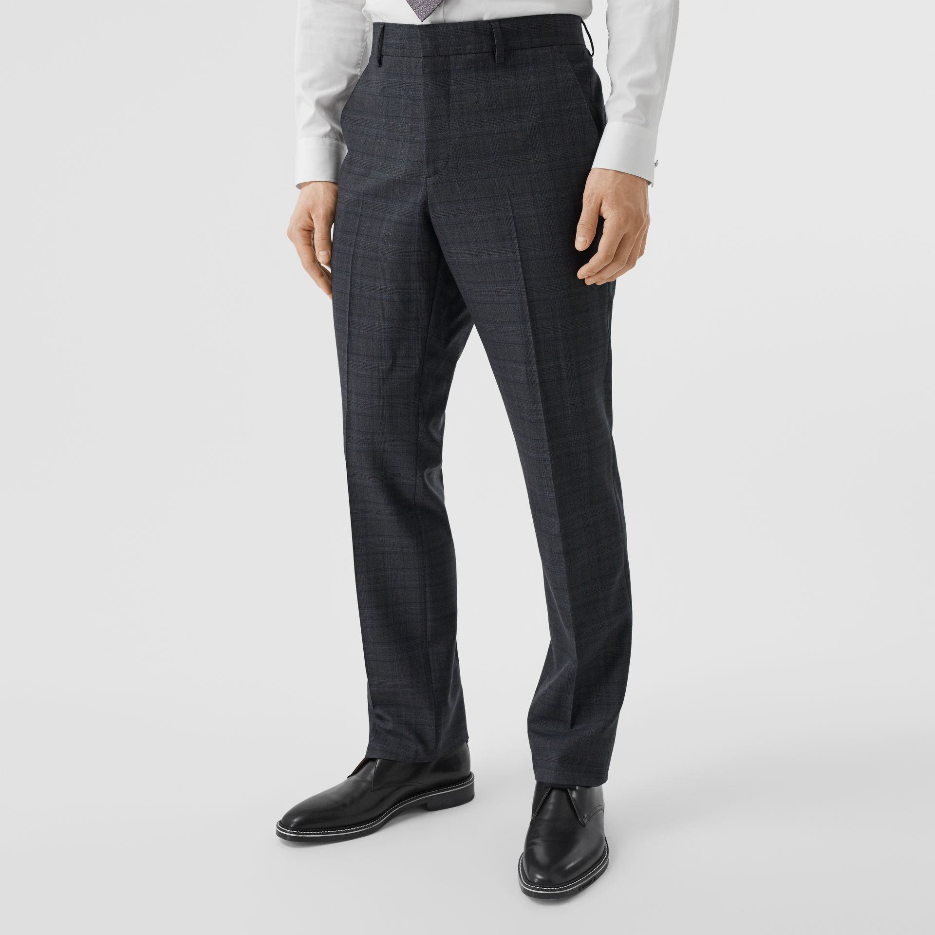 English Fit Check Wool Suit in Steel Blue | Burberry - gallery image 6