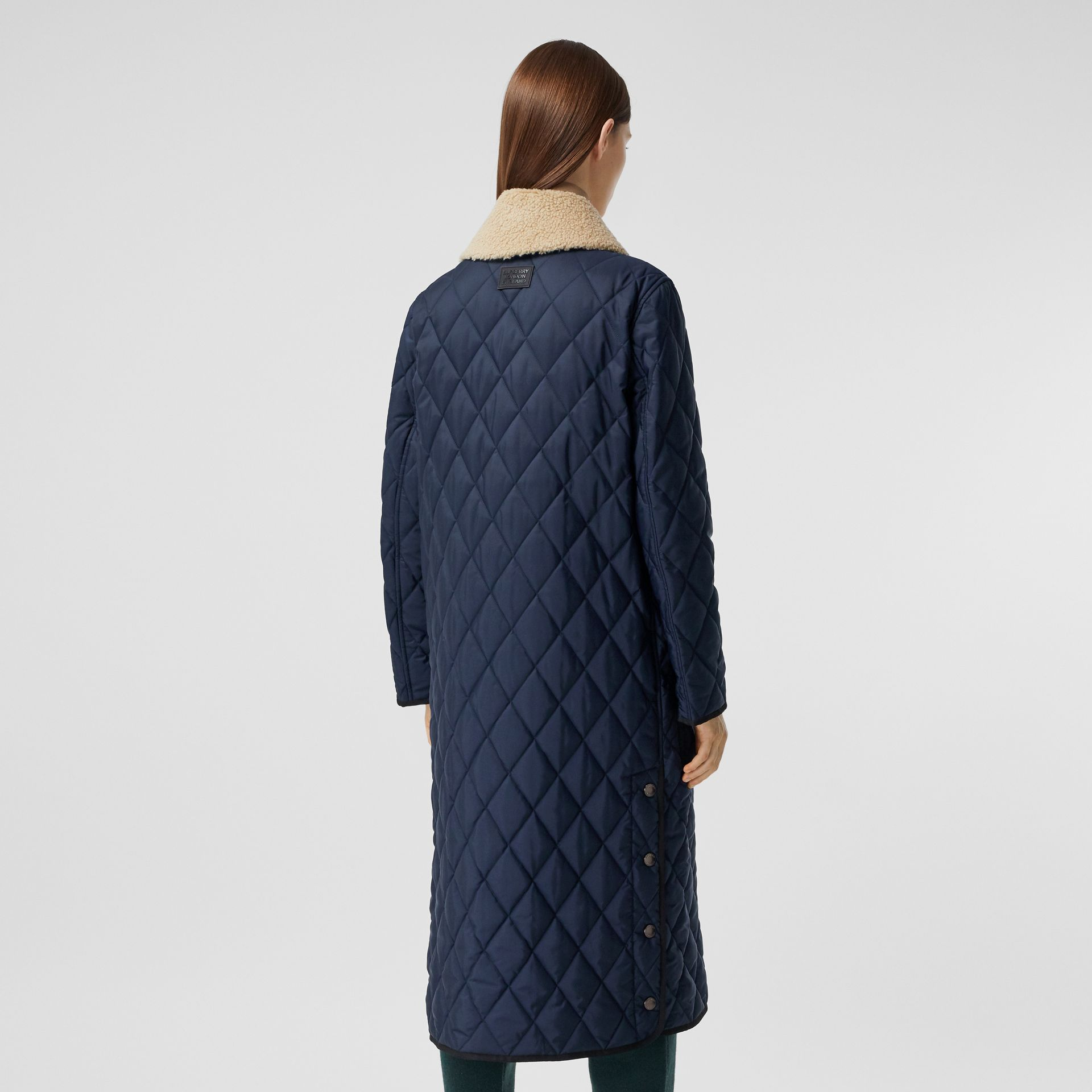 Detachable Fleece Collar Diamond Quilted Coat in Midnight Blue - Women | Burberry Canada - gallery image 2