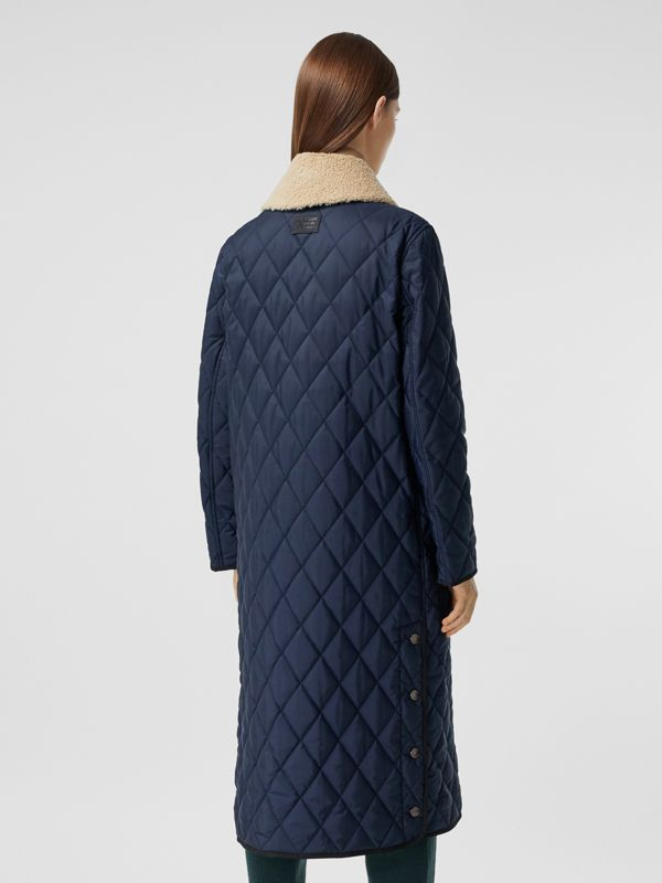 Detachable Fleece Collar Diamond Quilted Coat in Midnight Blue - Women | Burberry Canada - cell image 2