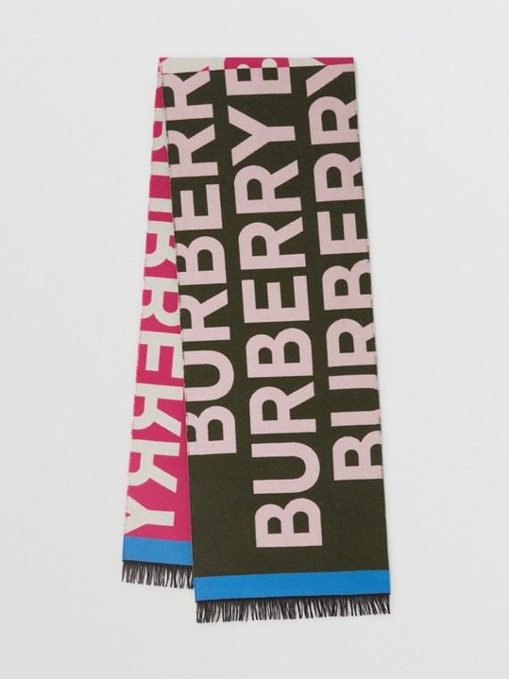 Schal aus regeneriertem Kaschmir, Wolle und Seide mit Burberry-Logo (Kaperngrün)