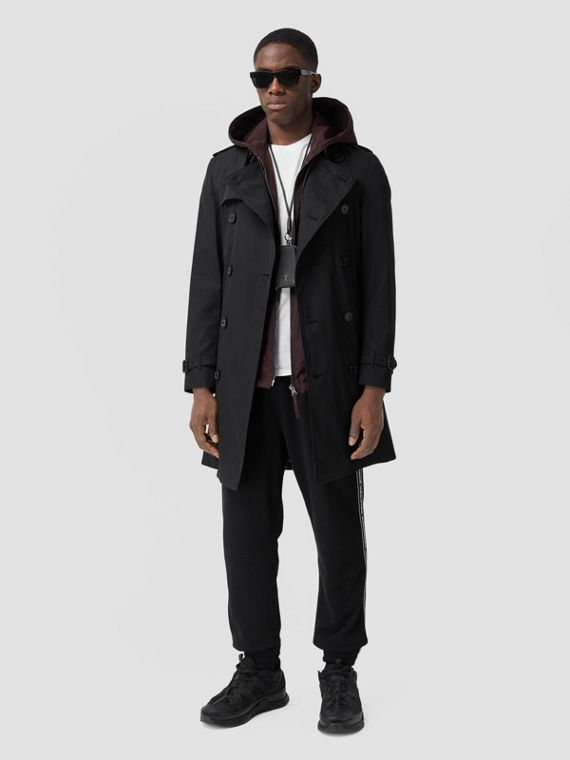 Trench coat Heritage Kensington de longitud media (Negro)