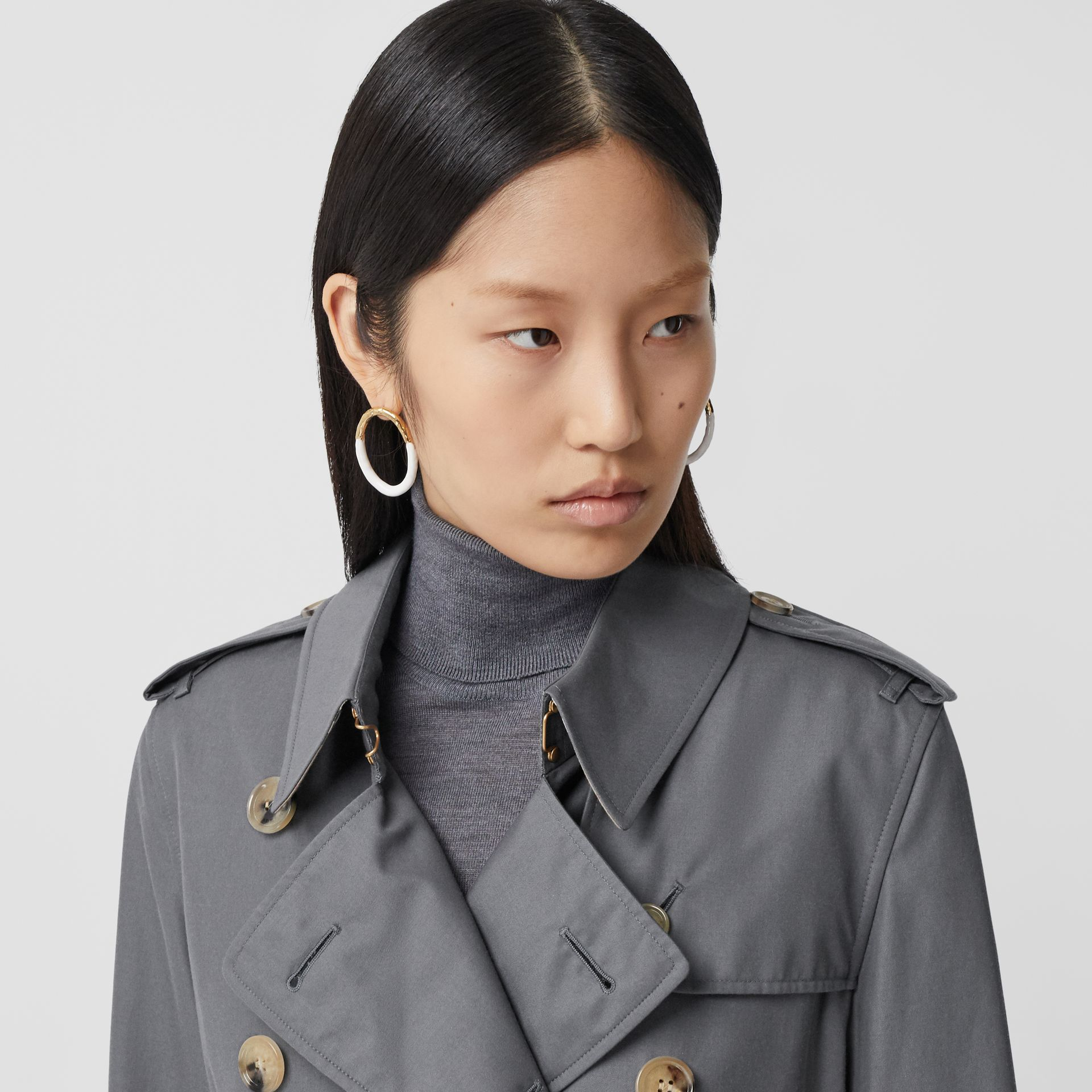 Cotton Gabardine Long Trench Coat in Mid Grey - Women | Burberry - gallery image 1