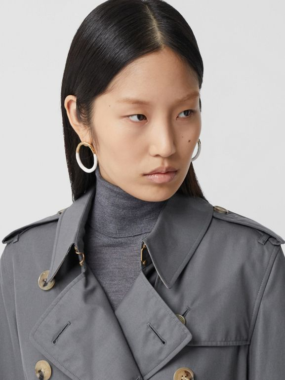 Cotton Gabardine Long Trench Coat in Mid Grey - Women | Burberry - cell image 1