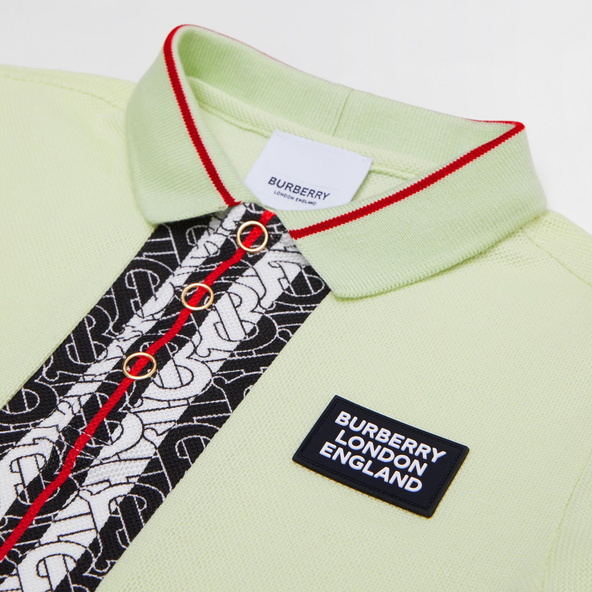 Monogram Stripe Print Cotton Piqué Polo Shirt in Pistachio | Burberry United States - gallery image 1