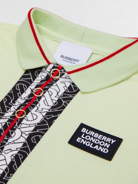 Monogram Stripe Print Cotton Piqué Polo Shirt in Pistachio | Burberry United States - cell image 1