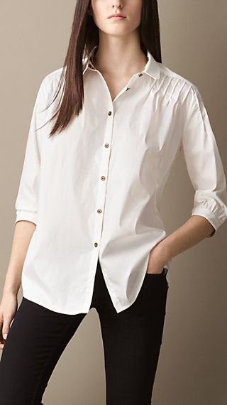 Pintuck Detail Oversize Shirt