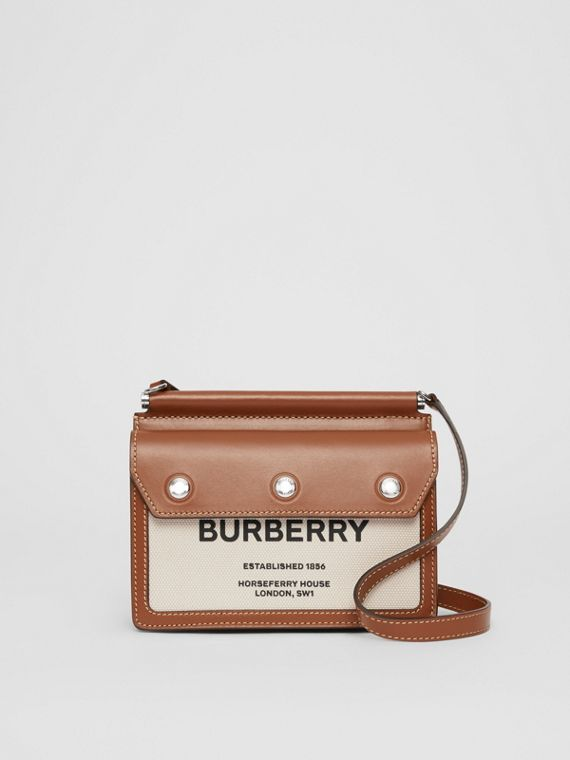 Mini Horseferry Print Title Bag with Pocket Detail in Natural/malt Brown