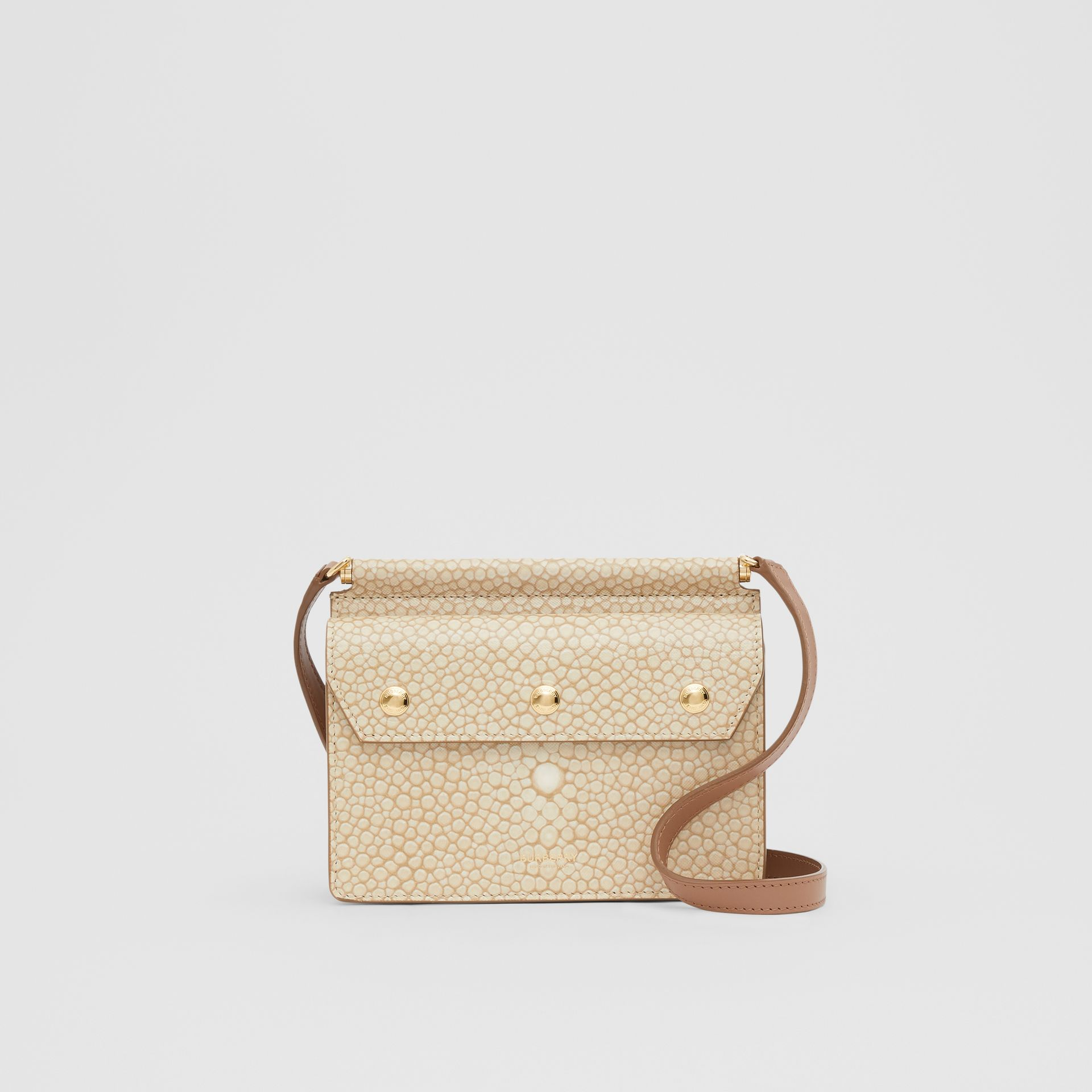 Mini Fish-scale Print Title Bag with Pocket Detail in Light Sand - Women | Burberry - gallery image 0