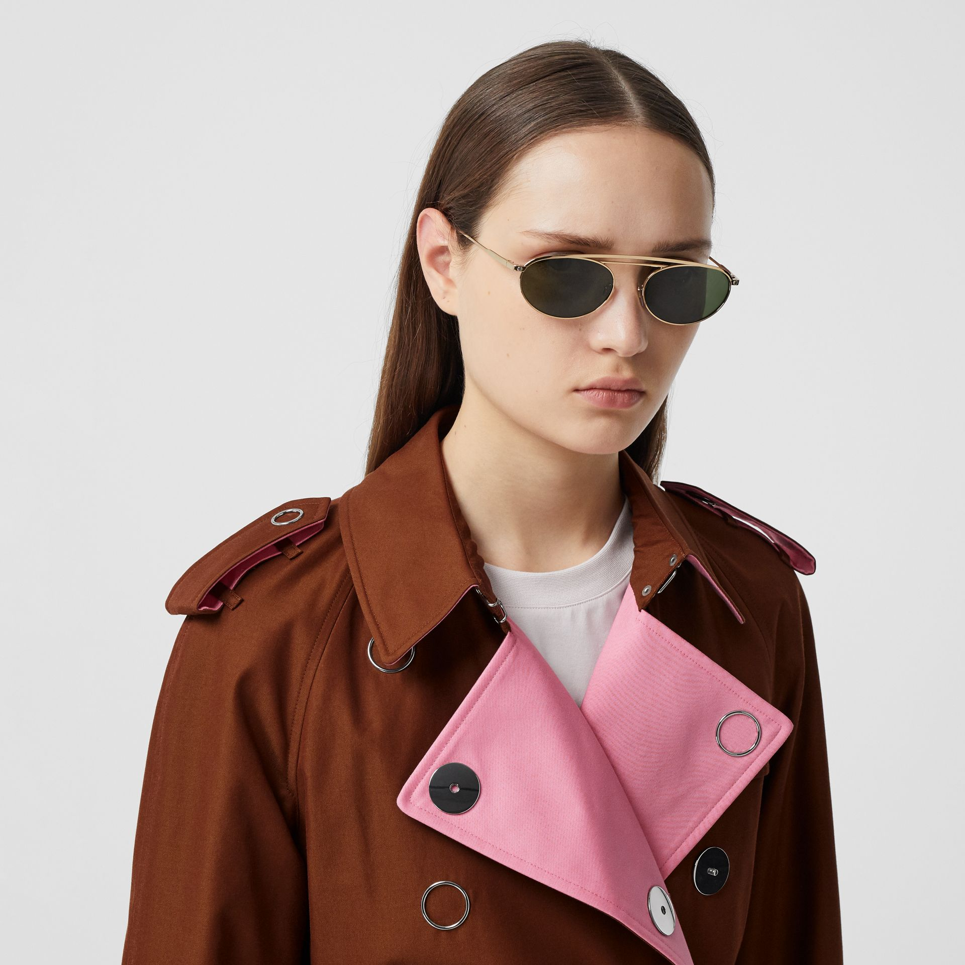 Colour Block Cotton Gabardine Trench Coat in Chestnut Brown - Women | Burberry - gallery image 1