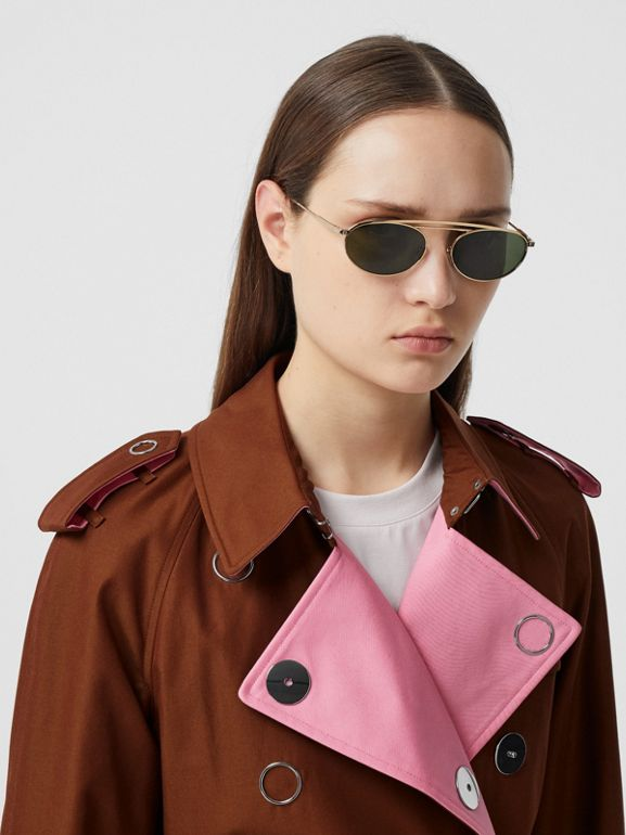 Colour Block Cotton Gabardine Trench Coat in Chestnut Brown - Women | Burberry - cell image 1