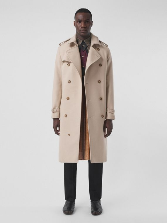 Camel Hair Wool Reconstructed Trench Coat in Soft Fawn