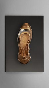 Metallic Leather House Check Ballerinas